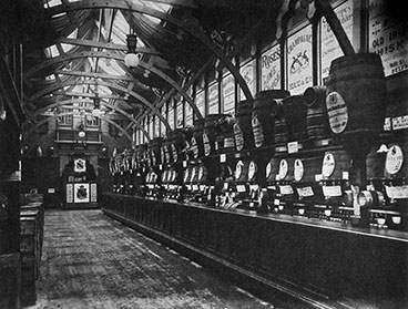 Interior of Rogano's Bodega at the Glasgow Exhibition 1888.