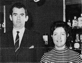Mr Dennis McGlennon manager of the Bowhouse Hotel with wife 1970