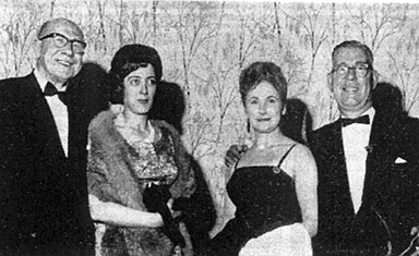 group image of James Culligan, Miss P McGuire, Mrs Bertha Sendall and J K Webster 1963.